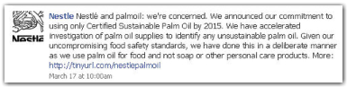 March 17, Nestle SA said it dropped Sinar Mas Group as a supplier of palm oil