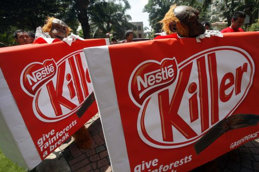 Greenpeace supporters use Facebook to express their opposition to Nestlé